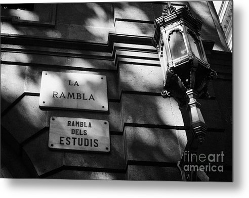 Marble Metal Print featuring the photograph Marble Street Name Plate For La Rambla Rambla Dels Estudis Barcelona Catalonia Spain by Joe Fox
