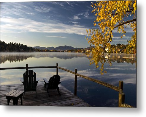 Adirondacks Metal Print featuring the photograph Mirror Lake  by Steve Auger