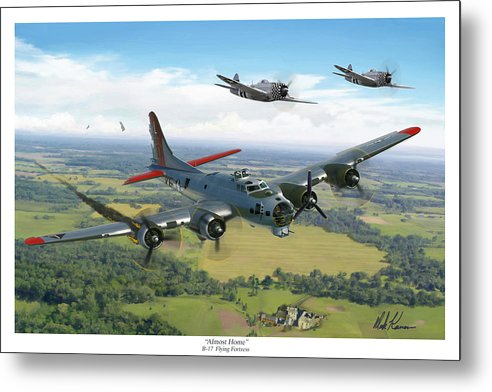 Airplane Metal Print featuring the painting Almost Home B-17 Flying Fortress by Mark Karvon