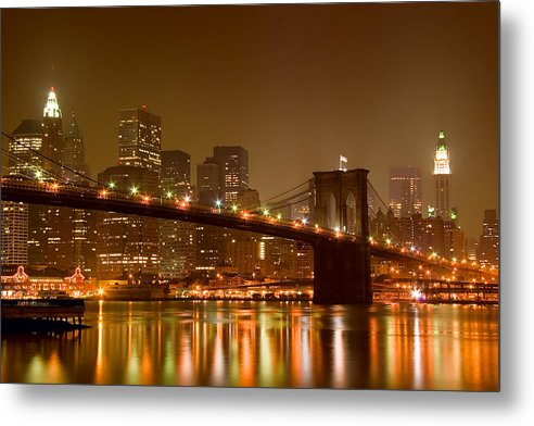 Architecture Metal Print featuring the photograph Brooklyn Bridge And Downtown Manhattan by Val Black Russian Tourchin