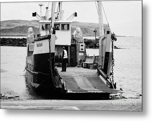 Ireland Metal Print featuring the photograph Caledonian Macbrayne Mv Canna Ferry With Vehicle Boarding Ramp Lowered Rathlin Island Pier Harbour N by Joe Fox