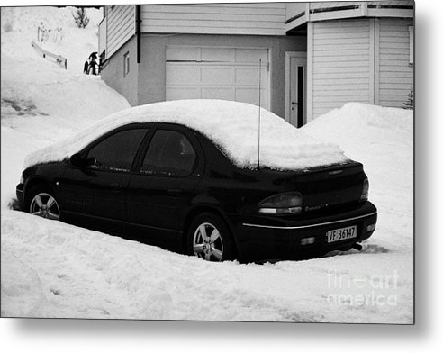 Car Metal Print featuring the photograph Car Buried In Snow Outside House In Honningsvag Norway Europe by Joe Fox