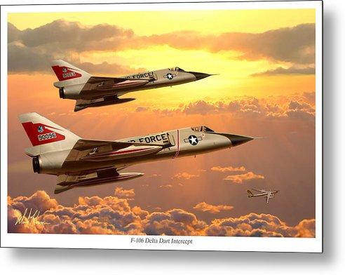 Aviation Metal Print featuring the painting F-106 Delta Dart Intercept by Mark Karvon
