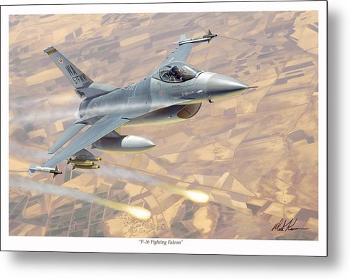 Aviation Metal Print featuring the painting F-16 Fighting Falcon by Mark Karvon