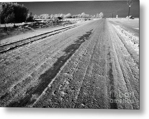 Salt Metal Print featuring the photograph frozen salt and grit covered rural small road in Forget Saskatchewan Canada by Joe Fox
