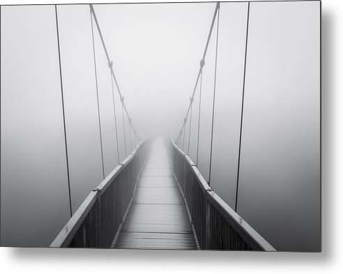 Grandfather Mountain Metal Print featuring the photograph Grandfather Mountain Heavy Fog - Bridge To Nowhere by Dave Allen
