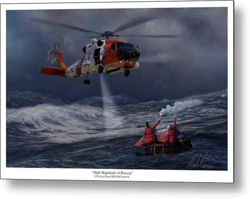 Aviation Metal Print featuring the painting High Magnitude Of Bravery by Mark Karvon