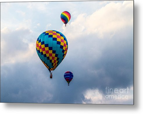 Events Metal Print featuring the photograph Hot Air Balloon Trio by Eleanor Abramson