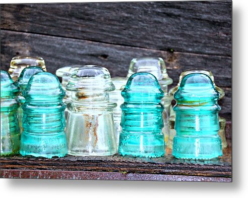 Old Metal Print featuring the photograph Old Insulators by Tina Meador