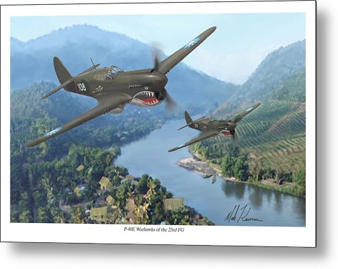 Airplanes Metal Print featuring the painting P-40 Warhawks Of The 23rd Fg by Mark Karvon