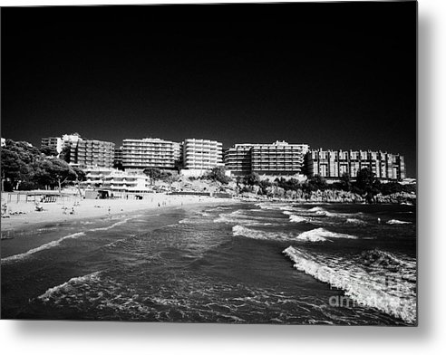 Salou Metal Print featuring the photograph Playa Cappellans And Salou Waterfront Properties On The Costa Dorada Catalonia Spain by Joe Fox