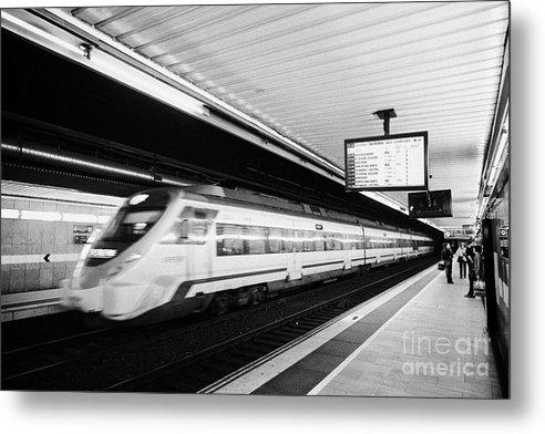 Passeig Metal Print featuring the photograph renfe civia train speeding through passeig de gracia underground main line train station Barcelona C by Joe Fox