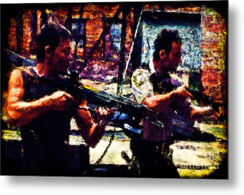 Artistic Metal Print featuring the painting Rick And Daryl Clearing The Courtyard by Dead Art