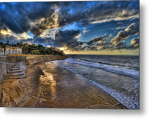 Israel Metal Print featuring the photograph the golden hour during sunset at Israel by Ronsho