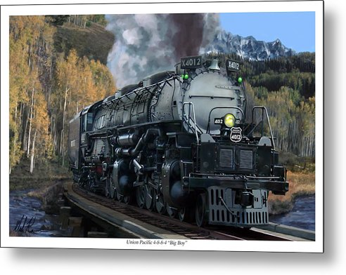 Railroad Metal Print featuring the painting Union Pacific 4-8-8-4 Big Boy by Mark Karvon