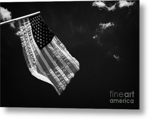 American Metal Print featuring the photograph Us American Flag On Flagpole Against Blue Cloudy Sky Usa by Joe Fox