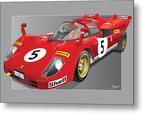 Ferrari P Cars Metal Print featuring the digital art Ferrari 512 S by Alain Jamar