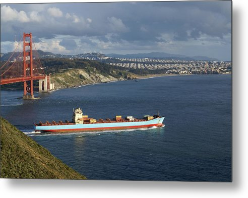 Golden Gate Bridge Metal Print featuring the photograph Ship Leaving Golden Gate by Tim Atwater
