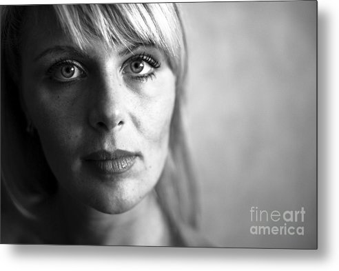 Portrait Metal Print featuring the photograph Black And White by Vadim Grabbe