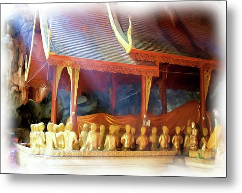 Buddhism Metal Print featuring the painting Cave Of The Bat Temple 2 by Bates Clark
