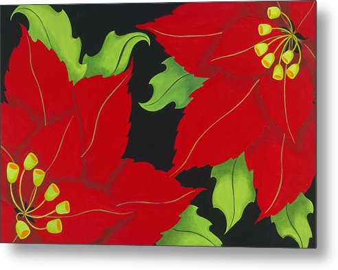 Acrylic Metal Print featuring the painting Double Red Poinsettias by Carol Sabo