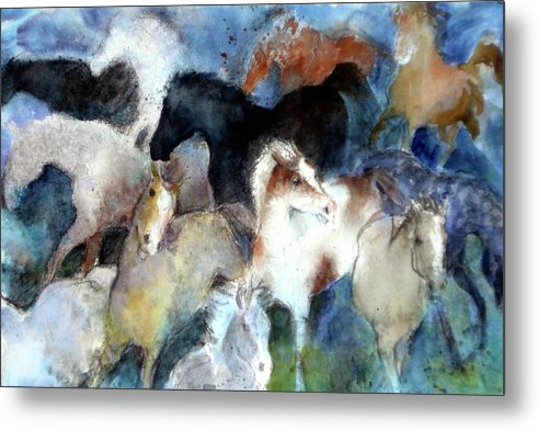 Horses Metal Print featuring the painting Dream Of Wild Horses by Christie Michelsen