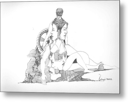 Faces Metal Print featuring the drawing Faces Bodies And Other Forms by Padamvir Singh