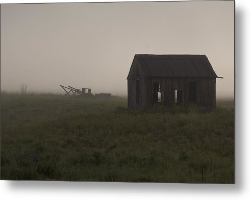 Abandoned Farm; Barn; Field; Fog; Haze; Horizontal; Silhouette Metal Print featuring the photograph Foggy Morning by John Higby