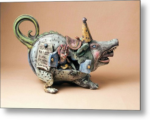 Pottery Teapot Animal Clay Fun Ceramic Metal Print featuring the ceramic art Free Ride by Kathleen Raven