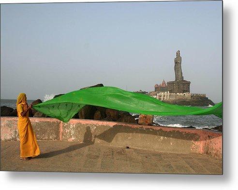 Sari Metal Print featuring the photograph Green by Sam Oppenheim