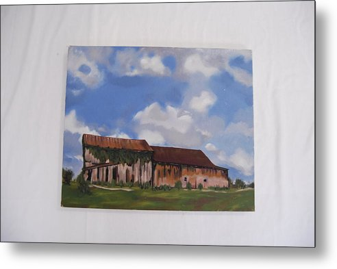 Indiana Barn Landscape Metal Print featuring the painting Indiana Barn by Marti Kuehn