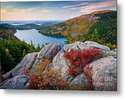 Acadia National Park Metal Print featuring the photograph Jordan Pond Sunrise by Susan Cole Kelly