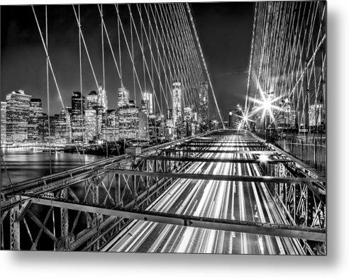 Brooklyn Bridge Metal Print featuring the photograph Light Trails Of Manhattan by Az Jackson