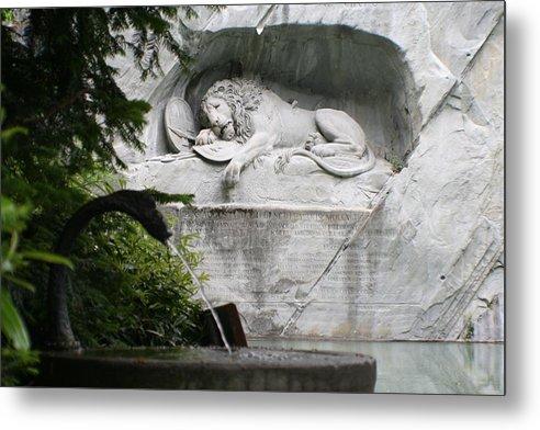 Switzerland Metal Print featuring the photograph Lion Monument Lucerne Switzerland by Greg Sharpe