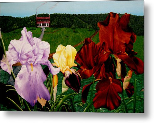 Garden Metal Print featuring the painting M S O S Irises 2 by Ivan Rijhoff