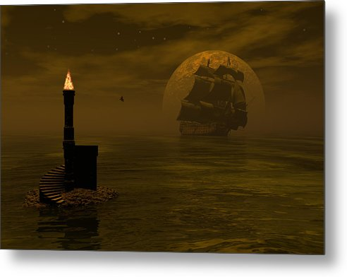 Windjammer Metal Print featuring the digital art Make For The Light by Claude McCoy