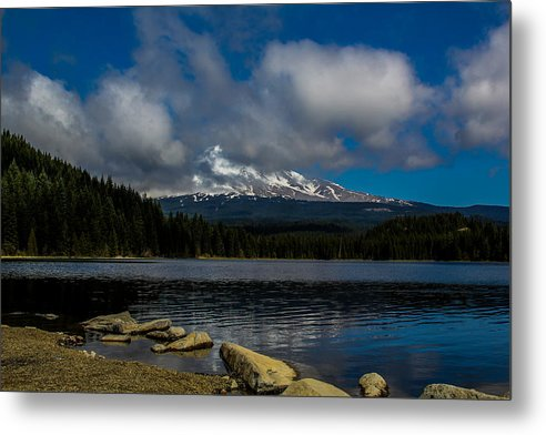 Landscape Metal Print featuring the photograph Mount Hood From Across Lake Trillium by Linda Nicol