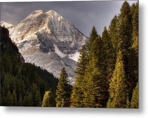 Mountain; Peak; Peaks; Mount Timpanogos Wilderness; Wasatch Mountains; Mt; Mts; Autumn; Fall; Winter Metal Print featuring the photograph Mount Timpanogos 3 by Douglas Pulsipher