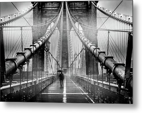 Brooklyn Bridge Metal Print featuring the photograph Mystery Manhattan by Az Jackson