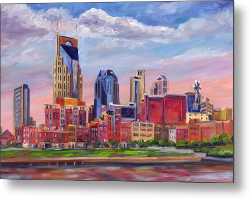 Nashville Skyline Metal Print featuring the painting Nashville Skyline Painting by Jeff Pittman