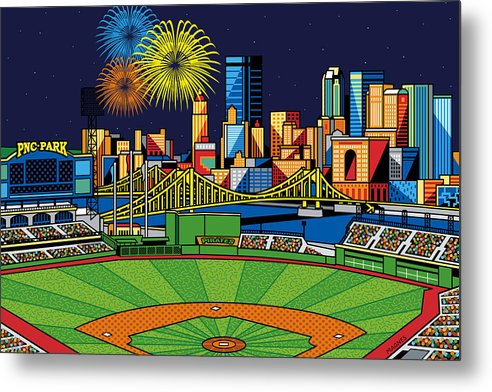 Pnc Park Metal Print featuring the digital art Pnc Park Fireworks by Ron Magnes