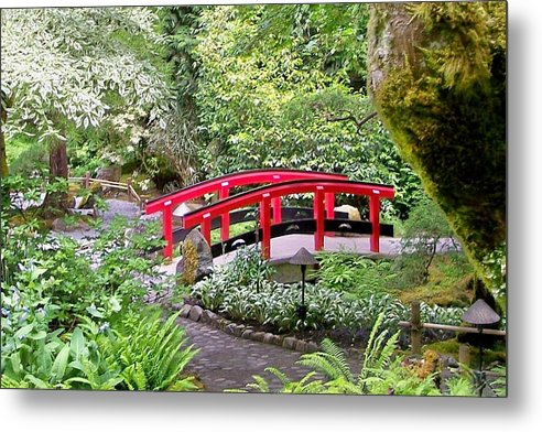 Japanese Metal Print featuring the photograph Red Bridge by Mark Cheney
