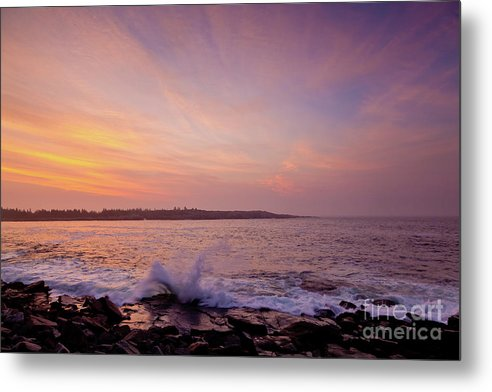 Acadia National Park Metal Print featuring the photograph Red Sky And Storm Waves by Susan Cole Kelly
