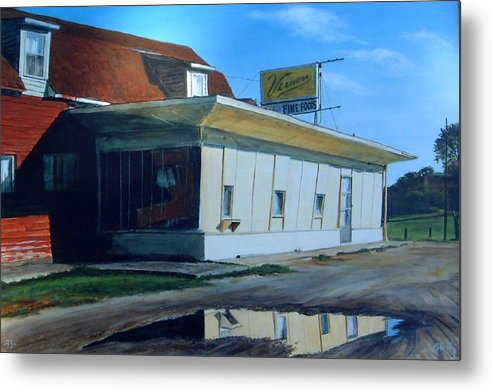 Landscape Metal Print featuring the painting Reflections Of A Diner by William Brody