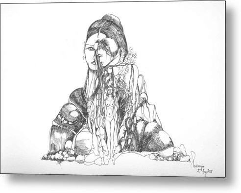 Surreal Metal Print featuring the drawing Rocks And Bodies by Padamvir Singh