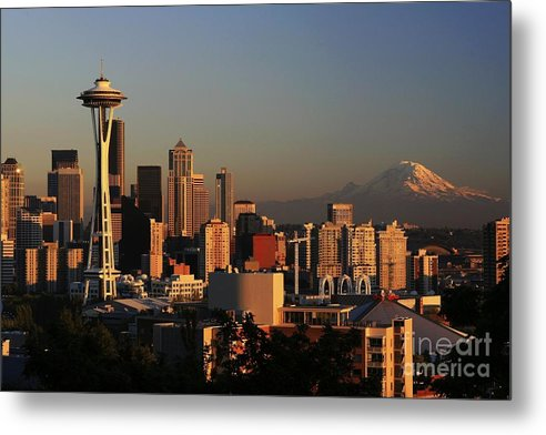 Seattle Sunset Cityscape Evening City Rainier Metal Print featuring the photograph Seattle Equinox by Winston Rockwell