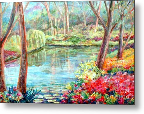 Landscape Metal Print featuring the painting Silent Pond by Nancy Isbell