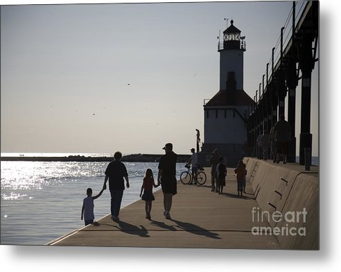 Lighthouse Metal Print featuring the photograph Stroll by Jeannie Burleson