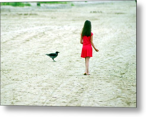 Coast Metal Print featuring the photograph The Girl And The Raven by Vadim Grabbe