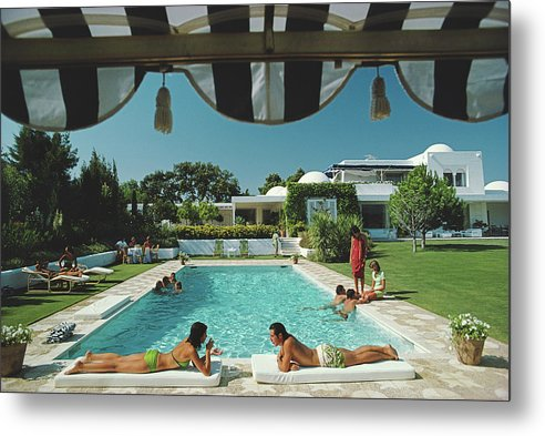 People Metal Print featuring the photograph Poolside In Sotogrande by Slim Aarons